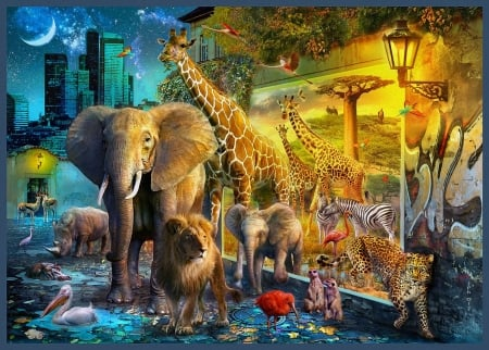 Coming Africa - elephant, leopard, pelican, moon, digital, giraffe, artwork, lion