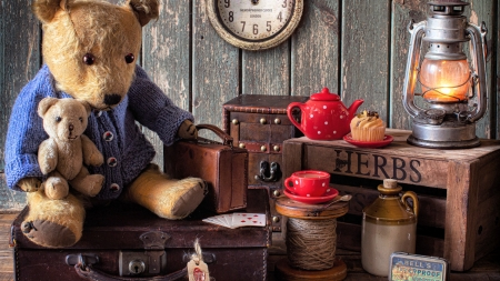 In the Shed - herbs, lamp, bears, suitcase, clock