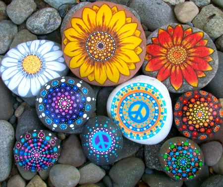 Painted Flowers On Stones - grey, flowers, painted, stones, round
