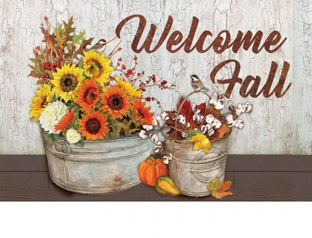 Welcoming Fall - flowers, sunflowers, card, greetings