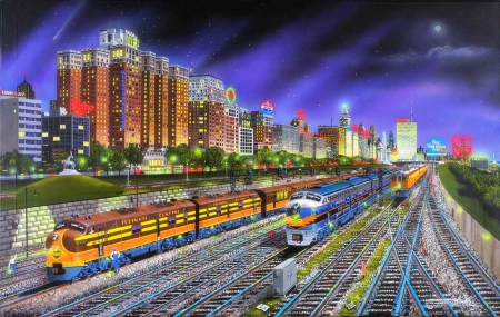 Chicago Central - painting, diesel, chicago, trains