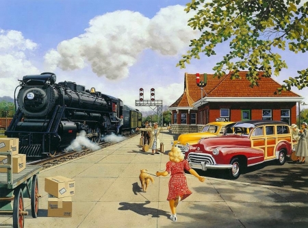 Here At Last - painting, station, steam engine, vintage, greeting