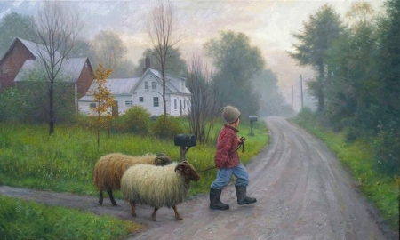 Taking The Sheep For a Walk - nostalgic, boy, scenic, house, Rural, path, Sheep, farmlife, Animals