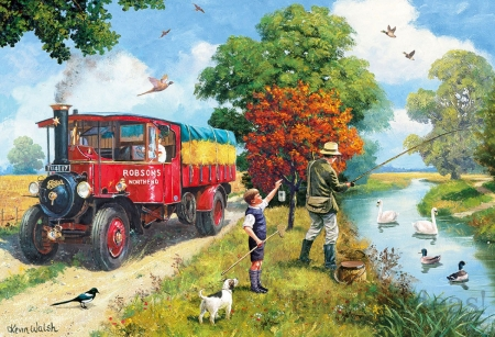 Afternoon Fishing - birds, truck, river, clouds, sky, trees, vintage, artwork, people, painting
