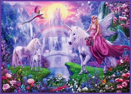 Fairy on Horse - birds, fairytale, butterflies, foal, unicorns, waterfalls, artwork, moon, bridge, mountains, digital, flowers, river, castle