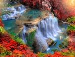 Beautiful autumn cascades