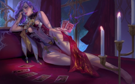 Fantasy girl - red, fantasy, purple, luminos, girl, xiaobotong, pink, card, candle