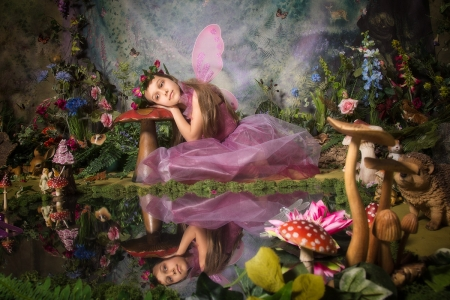 Fairy - child, pink, fairy, wings, mushroom, creative, pond, louise sumner, fantasy, water, girl, copil, reflection