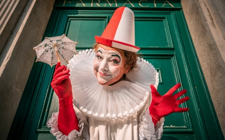 Clown - green, clown, red, gloves, umbrella, venice carnival, white