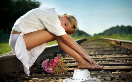 Cowgirl On The Tracks. . - hats, cowgirl, ranch, outdoors, fashion, tracks, style, western, blondes