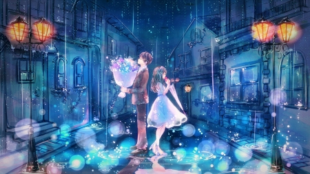 Love Rain - love, art, romance, anime, rain, orginal, couple, night