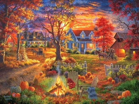 Autumn Village - colorful, villages, fall season, autumn, houses, love four seasons, campfire, attractions in dreams, horse carriages, paintings, sunsets, garden, nature, pumpkins
