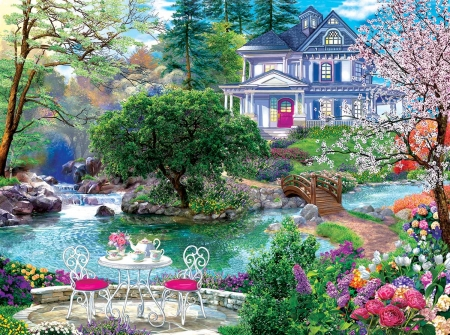 Waterside Tea - table, cottage, painting, chairs, flowers, river, teapots, artwork