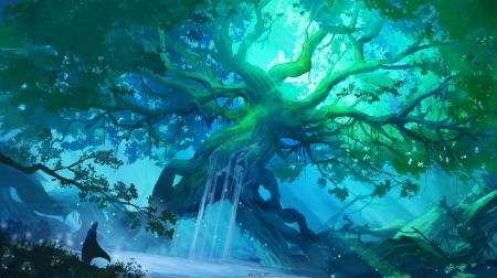 The core of the grove - mart, fantasy, tree, luminos, green, grove, ardoricart, blue, water