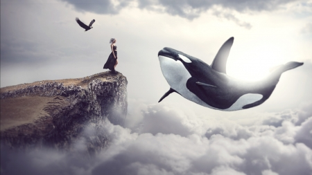 :) - giant, fantasy, cloud, girl, whale, orca, dream, creative