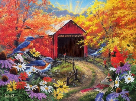 Bluebird Bridge - birds, nature, architecture, colorful, autumn, fall season, bridges, love four seasons, attractions in dreams, roads, paintings, flowers