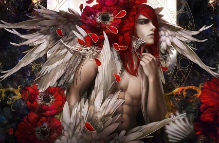 Angel - angel, tincek marincek, white, wings, tincekmarincek, frumusete, redhead, luminos, fantasy, men, flower