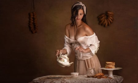 Time For Tea - brunette, Femininty, lovely, model, alluring, browns, tea, vintage, Sexy