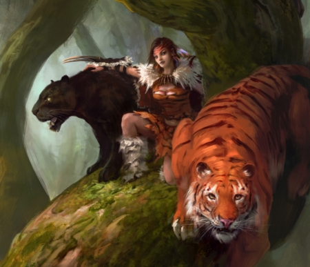 :) - black panther, fantasy, orange, girl, jungle, manzanedo, tiger, tigru, art
