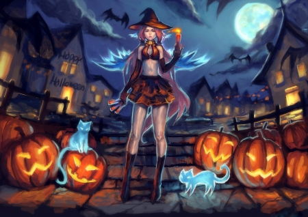 Black Angel in Halloween - paintings, spooky, holiday, girl, halloween, pumpkins, moons, witch, cat, anime
