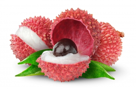 Litchis - fruit, gree, white, pink, litchis