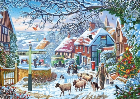 A winter stroll - craciun, christmas, painting, stroll, night, art, iarna, winter, sheep, tree, pictura