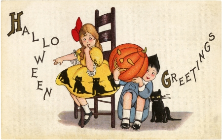 Happy Halloween! - cat, orange, halloween, children, black, card, retro, boy, girl, pumpkin, copil, child, vintage