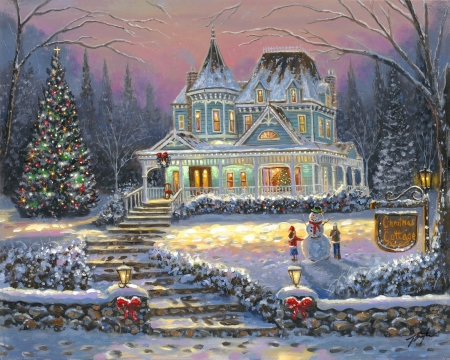 Christmas Cottage - snowman, snow, house, christmas tree, painting, children, artwork