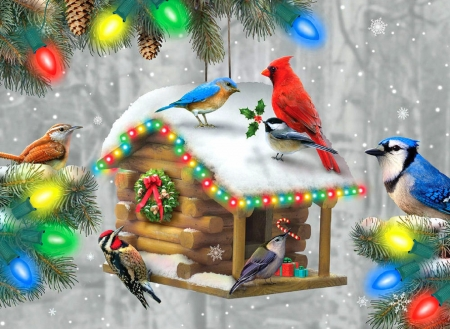 Festive Feathered Friends - Chirstmas, nature, winter, holidays, birds, love four seasons, xmas and new year, paintings, snow, winter holidays, decorations, birdhouse