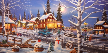 Christmas at Pine Ridge - houses, snowman, winter, moons, Christmas, villages, holidays, love four seasons, pines, xmas and new year, paintings, snow
