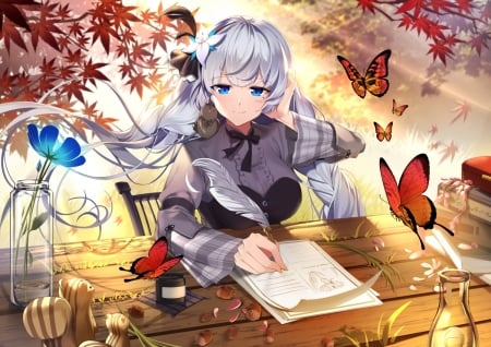 Letter for You - wings, lovely, female, leave, sexy, cute, pen, kawaii, girl, lady, maiden, pretty, cg, white hair, adorable, wing, sweet, nice, butterfly, anime, beauty, anime girl, long hair, table, amour, nuts, dy, squirrel, dress, autumn, hd, divine, beautiful, adore, animal, leaves, squirle, hot, blue eyes, letter, bird, flower, petals, paper, desk, silver hair