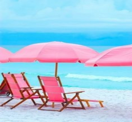 Pink Beach Chairs - Water, Beach, Pink, Chairs, Waves