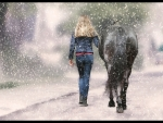 A Girl Walking Her Horse In A Snow Squall