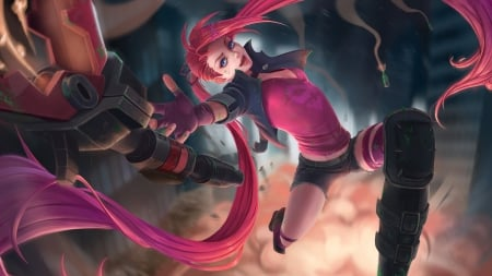 Slayer Jinx - jinx, luminos, girl, game, hand, mignon zakuga, lol, pink, fantasy