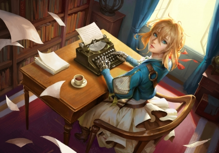 Violet Evergarden - book, beautiful, sweet, nice, anime, beauty, anime girl, chair, realistic, long hair, papers, table, female, lovely, window, curtains, blonde, violet evergarden, braids, short hair, coffee, girl, violet, desk, lady, maiden, scene, pretty, cg, typewriter, teacup, bookshelf, blond, hd, dress, shelf