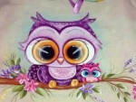 Purple Owl And Babies With Big Eyes