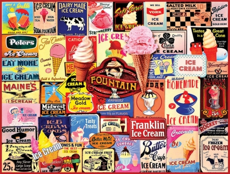Collage - image, collage, ice cream, retro, poster, vintage