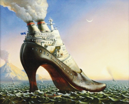 Full steam ahead - surrealism, painting, steam, shoe, pictura, sea, art, titanic, fantasy, water, vladimir kush
