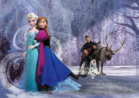 Frozen (2013) - frozen, princess, anna, elsa, movie, kristoff, winter, iarna, fantasy, snow queen, sister, reindeer, disney