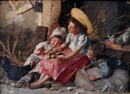 The chicks - girl, copil, painting, children, gaetano chierici, mother, art, woman, boy, sister, pictura