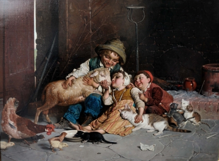 :) - painting, children, copil, gaetano chierici, pictura, art, martinelli, kiss, sheep, oaie, oi