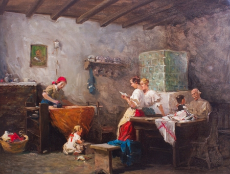 The letter - family, art, man, woman, mother, father, sister, painting, eugenio zampighi, copil, room, child, pictura, letter, scene