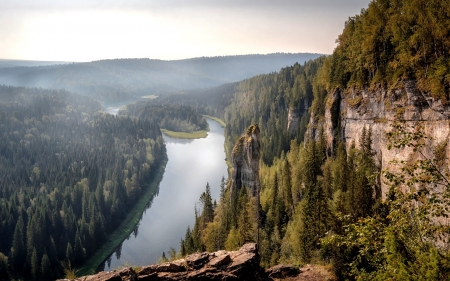 River Usva in Russia - forests, river, cliffs, Russia