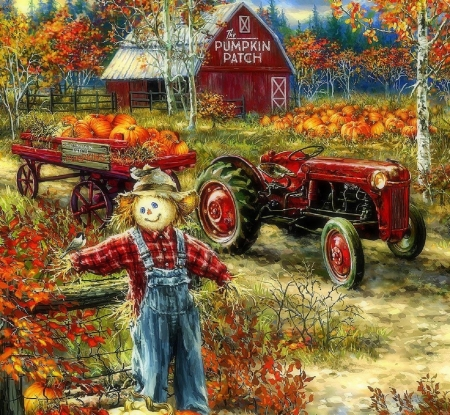 The Pumpkin Patch Farm - paintings, autumn, fall season, love four seasons, farms, scarecrow, attractions in dreams, pumpkins, tractor
