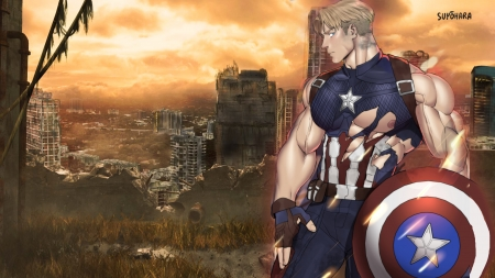 Captain America - shirt, gym, muscle, suyohara, beast, pecs, ripped