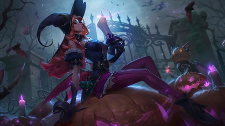 Halloween Miss Fortune - fantasy, miss fortune, pumpkin, halloween, lol, pink, night, hat