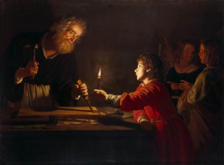 Childhood of the Christ - fantasy, boy, dark, man, gerard van honthorst, child, light, art, childhood of the christ, painting