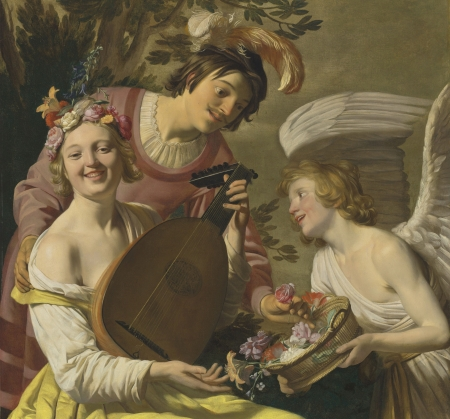 Allegory of Love - gerard van honthorst, allegory of love, pictura, art, wings, angel, man, woman, girl, cupid, people, painting, flower
