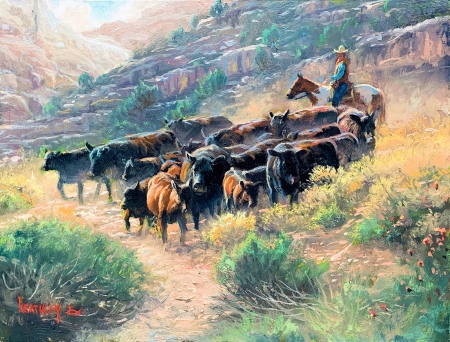 Roundup II - Mark Keathley - herd, cows, mountains, painting, man, horse, artwork
