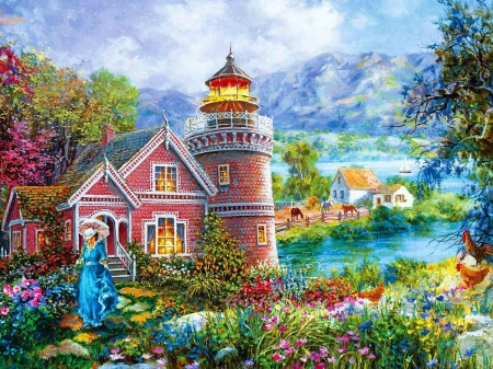 Lighthouse Morning in Spring - cottage, moman, victorian, painting, flowers, trees, artwork, horses